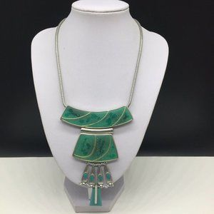 Chico's Turquoise Enamel Silver Statement Necklace